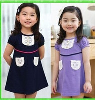 5T-6T Summer Children's Day Girls girls cute solid color pocket skirt skirt
