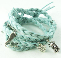 Wholesale W0003 fashion leather braid handmade wrap bracelets with silver charms colors available