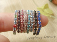 Wholesale Fashion mix crystal rings for girl adjustable alloy rings