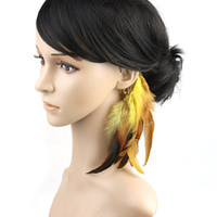 Yellow Asian & East Indian Women's Wholesale - Long Dangle Hook Ear Feather Chain Cuff Clip Earring,dream catcher earring hot sale SP8