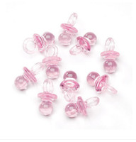 baby pacifier favors - 2014 new arrival Pink Acrylic Mini Baby Pacifiers Charms Shower party Favors