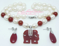 Earrings & Necklace Pearl,Mother-of-Pearl Silver Plate/Fill White pearl Red jade Elephant pendant necklace earring