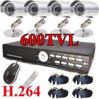 Bullet 4  [4]36IR 600TVL CCD High-Resolution security camera CCTV 500G H.264 DVR System silver color
