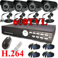 Bullet 4  [4]36IR 600TVL CCD High-Resolution security camera CCTV 500G H.264 DVR System black color