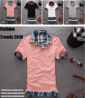 Men Cotton Polo Korean Slim Double collar Lattice Short sleeve Polo shirt Short sleeve T-shirt PL02