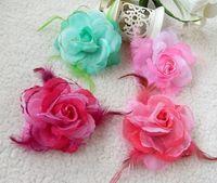 Hair Clips Blending Children's Day Children 's performance headwear, girls dance hair accessories,rose head flower,hair clips 10pcs lot