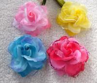 Hair Clips Blending Children's Day Children's performance headwear, girls dance hair accessories,rose head flower,hair clips 100pcs lot
