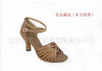 Wholesale Dance shoes Sandals Direct manufacturers The Latin dance shoe Ladies Ballroom dance Golden yellow LD