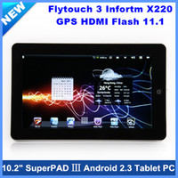 Wholesale 10 quot Flytouch SuperPAD buil in gps Android Tablet PC GHz M G G GB with wifi hdmi