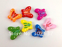 Wholesale 60PCS Mixed colours wooden butterfly Beads