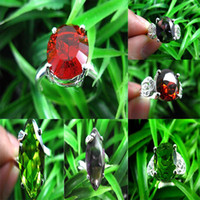 Wholesale Hot Vintage Silver Gemstone Ring Multicolor Topaz Gems Ring Mixed Size Nice