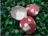 Wholesale 1000pcs hot red with white heart type cupcake liners baking paper cup muffin cases for party