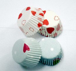 1000pcs hot red heart with white cupcake liners baking paper cup muffin cases for party