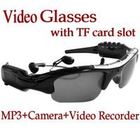 al por mayor gafas de vídeo de la cámara mp3-El vídeo de envío libre de los vidrios de las gafas de sol MP3 ocultó la cámara del registrador de DV con la ranura para tarjeta del TF