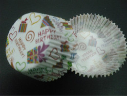 lovely cute 4.5inch 500pcs Happy Birthday cute heart with gift box liners baking paper cup muffin cases for party