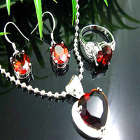 Wholesale Stylish Gemstone jewelry Silver Red Crystal Stone Ruby Topaz Necklace earrings Ring sets sets