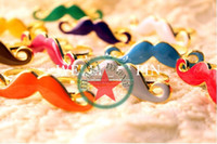 Wholesale fashion double fingers reaationary carve Afunti mustache ring candy color