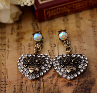 Wholesale Retro Dangle Earring Jewelry Antique brass color with Crystal Heart shape Earbob pairs
