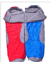 Wholesale adult hiking sleeping bag mummy form with cap thicken high quality cotton kg cm