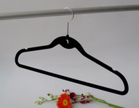 Wholesale Closet Velvet Clothes Hanger with hook Velvet Hangers Non Slip Nonslip Hanger Black Color