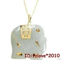 China-Miao Unisex Gift Charming NATURAL White Jade Elephant Fashion Amulet Pendant Necklace