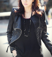 Wholesale 2012 NEW ARRIVAL Korean fashion women black short leather jacket slimming collar pu jackets