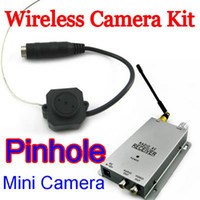 Wholesale cctv security Micro Wireless Pinhole Color Camera Video Receiver Ghz with audio mini cam