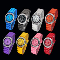 Wholesale 50pcs DHL GENEVA Lady Bling Crystal Diamond Face Silicone Bracelet sport watch soft rubber