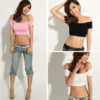 Wholesale Fashion Women s Sexy Hip hop Off Shoulder Midriff Baring Club Party T Shirt Tops