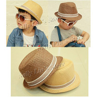 Wholesale Solid Color Baby Straw Hat Kids Fedoras Baby Straw Cowboy Hat Children Summer Straw Sunhats Dicers