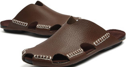 Wholesale Newest Popular mens slippers genuine leather men s Sandals casual shoes flat loafers New York USA
