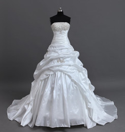 Wholesale US size in Stock Real Sample Beading White Taffeta Appliqued Wedding Gown Bridal Dresses