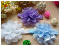 Wholesale 9 Color Snow Silk Flowers Elastic Headband Baby Girl Strech Head bands Kid s Headdress