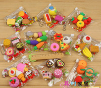 Wholesale Free Ship Packs Mixed Fresh Fruit Eraser Food Eraser Rubber Eraser With Nice Bag Christmas Gift