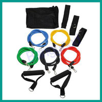 Wholesale 11 PC Latex Resistance Bands Exercise Set for Yoga ABS P90X Workout Fitness New