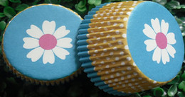500pcs Eight leaf blue yellow white dots liners baking paper cup muffin cases for party favor