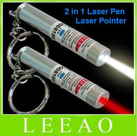 Wholesale Best Price New in White LED Light and Red Laser Pointer Pen Keychain Flashlight
