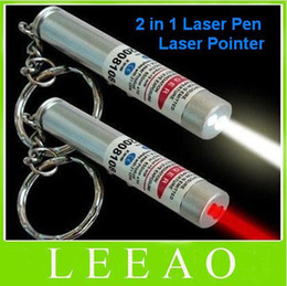 Best Price 350pcs lot # New 2 in 1 White LED Light and Red Laser Pointer Pen Keychain Flashlight