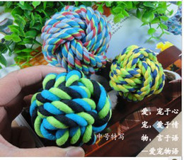Wholesale Four color Small Pet dog Chew Braided Rope Knot Ball Toy Electronic Pet Toys Amusement Toys