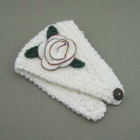 Wholesale Headband Handmade Knit Headwrap crochet flower Three leaves White LK2018