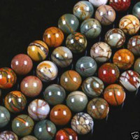 Wholesale 4mm mm mm mm mm Multicolor Picasso Jasper Gemstone Round Loose Bead inch