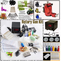 1 Gun Rotary Tattoo Kit New Rotary Tattoo Machine Gun Kits LED Power Supply 20 Needles Tip Grip Tools Tattoo Supply