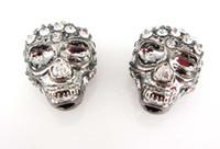Skull Loose Beads crystal diamond skull - Mixed Skull Loose Beads Charms Crystal Diamond Rhinestone Skull Beads Fit European Bracelet DIY pc