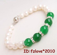 Wholesale Charming green jade White pearl crystal women s Fashion Jewelry bracelet