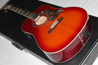 Cherry sunburst chinese acoustic guitars - best chinese long culture guitar screen pick up Acoustic electric Guitar OEM