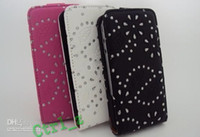 Wholesale Bling DIAMOND FLIP LEATHER POUCH CASE COVER for S Black White Pink