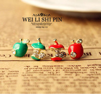 Wholesale Fresh Enamel Beautiful Red Green Apple Earrings Rhinestone Gold Stud Earring Hotsale Jewelry