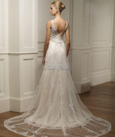 Wholesale 2014 New style Spaghetti wedding dress gown V Neck Bride dresses Wedding Dresses Wedding Apparel with Voile Applique lace