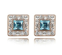 Wholesale Simulated Diamond stud Jewelry crystal stud earrings pair Mix order