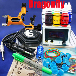 Wholesale Dragonfly Rotary Tattoo Machine Kits LED Power Supply Inks Needle Tip Grip Accessory Professional